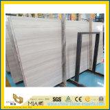 Azulejos de mármol China White Wood Grain / losa de Pisos pared Clading