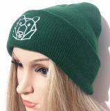 Les chapeaux tissés par graines de léopard ont brodé le chapeau tricoté de Beanie de chapeau de l'hiver de chapeau