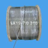 Веревочка провода нержавеющей стали для поднимать и подниматься (1X19-7.0)