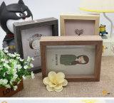 Marco de fotos de madera Marco de doble cara de la decoración del hogar artesanía (4 * 6 '')