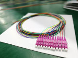 光ファイバLC 12coreリボンの多彩なピグテールOm4の紫色のコネクター