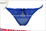 Las bragas abiertas abrochadas cordón pendiente de lujo de la flor del telar jacquar maduran la ropa interior atractiva de la G-Cadena de las señoras