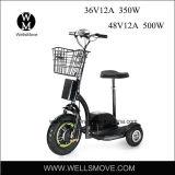 Batterie d'acide de plomb électrique du scooter 36V 350W de Trike de roues de Wellsmove trois