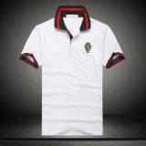 T-shirt blanc fait sur commande de polo de chemise de polo de broderie de coton