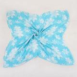 Der Mädchen-blaue weiße Polyester-Voile-Schal