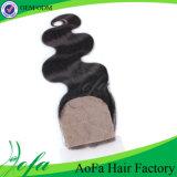 Fechamento do laço do cabelo de venda quente do Virgin de Iidian/cabelo humano