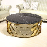 Mesa de centro redonda da parte superior do mármore do aço inoxidável do ouro do projeto novo