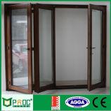 Portas de dobradura de alumínio do acordeão com vidro dobro Pnoc0009bfd