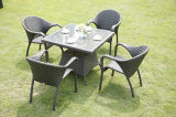 Напольная рука мебели сада ротанга сплетенная вокруг ротанга обедая стул