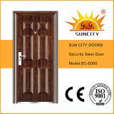 Preço de aço econômico da porta de entrada de 6 painéis (SC-S060)