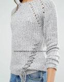Signora Oversized Cotton Sweatershirt dal disegno di lavoro a maglia W