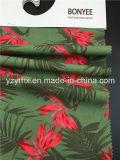 Законченный земля 100% персика Twill хлопка ткани глубоко - зеленая с листьями и красным цветком