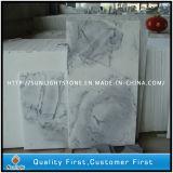 Polished кристаллический белые плитки камня мрамора волны для вымощать настил