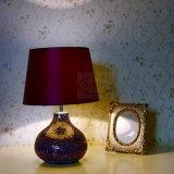 Lámpara de vector de cerámica púrpura decorativa de la lámpara de escritorio del hotel europeo