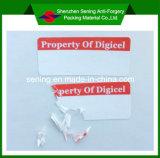 De vernietigbare Anti-Counterfeit Sticker van de Waarschuwing van het Document Zelfklevende