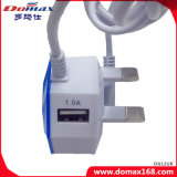 Заряжатель штепсельной вилки мобильного телефона UK связанный проволокой кабелем с двойными портами USB