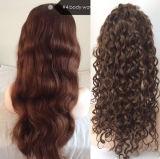 """24 """" pelucas chinas rizadas/de la carrocería rizadas de la onda del pelo del cordón de la peluca #4 del pelo"""