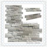 Revêtement de marbre en bois blanc de mur en pierre de culture d'ardoise pour la construction