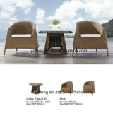 Jogo de café impermeável ao ar livre da mobília do jardim do Rattan redondo pequeno com cadeira Stackable (YT121)