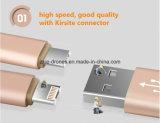 Kleurrijke Nylon Kabel USB met Schakelaar Kirsite