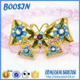 Brooch de cristal azul do Pin da borboleta da liga feita sob encomenda para o traje
