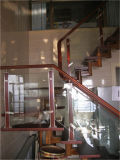 Madera maciza con vidrio templado Escalera Barandilla