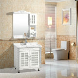 Style europeu White Floor - PVC montado Bathroom Cabinets