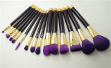 紫色のNatural Hair 15PCS Cosmetic Makeup Brush Set