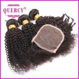 el pelo brasileño 8A teje y el enrollamiento rizado de los encierros lía el pelo 3pieces con 1 extensión de la trama del pelo humano del encierro del cordón