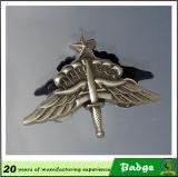 Insigne militaire fait sur commande de sécurité d'insigne de cannette de fil en métal d'insigne