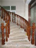 Balustrade moderne d'escalier spiralé en bois solide