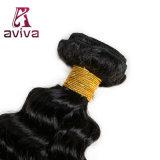 El pelo humano de la onda profunda peruana lía la extensión natural del pelo del color del pelo de Remy de 1 manojo