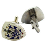 Atacado Custom Printed Silver Color Fashion Men Cufflinks