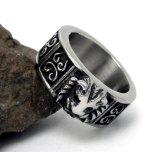 León del acero inoxidable del anillo de los hombres de plata de la vendimia
