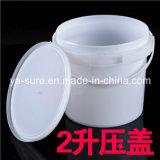 cubeta plástica redonda branca do produto comestível 2L com punho