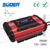 Suoer Nuevo inversor puro de alta frecuencia de la onda de seno Inversor de la energía solar de 1000W 12V 220V con la exhibición del LCD (FPC-D1000A)