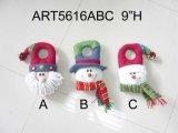 Iluminar acima o Natal Decoraiton Doorknob-3asst de Santa & de boneco de neve