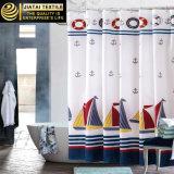 防水ボートプリント海事の濃紺のシャワー・カーテン