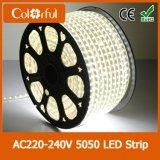 Impermeabilizar la iluminación de tira ultra brillante de SMD5050 AC220V LED