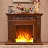 Mantel d'intérieur électrique de cheminée découpé par luxe (GSP15-006)