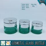 Choc crème en verre cosmétique en verre coloré vert vide de bouteille et de produit de beauté