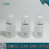 30ml esvaziam o frasco de vidro cosmético geado da bomba da loção com tampão de alumínio