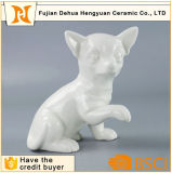 Cane di ceramica bianco Handmade per la decorazione domestica