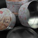 Круглые олово плюшевого медвежонка/коробка металла с благоприятным ценой (R008-V1)