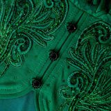 Las señoras de Srta. You Ailinna 103015 ponen verde el acoplamiento simple bordado A - línea alineada maxi