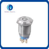 interruptor de pulsador de enganche iluminado resistente del metal del vándalo de 19m m con el metal iluminado botón de la iluminación del símbolo de la potencia