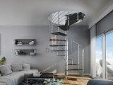 Modernes Edelstahl-Treppenhaus mit festes Holz-Jobstepps