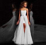 Populäres abnehmbares Fußleisten-Farbband-Band-Sleeveless Spitze-Hochzeits-Kleid