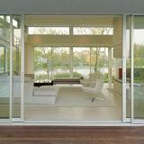 Porte coulissante suspendue à cadre en aluminium avec verre trempé givré