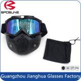 Capacete de motocicleta preto com óculos de proteção com máscara facial removível para rosto aberto